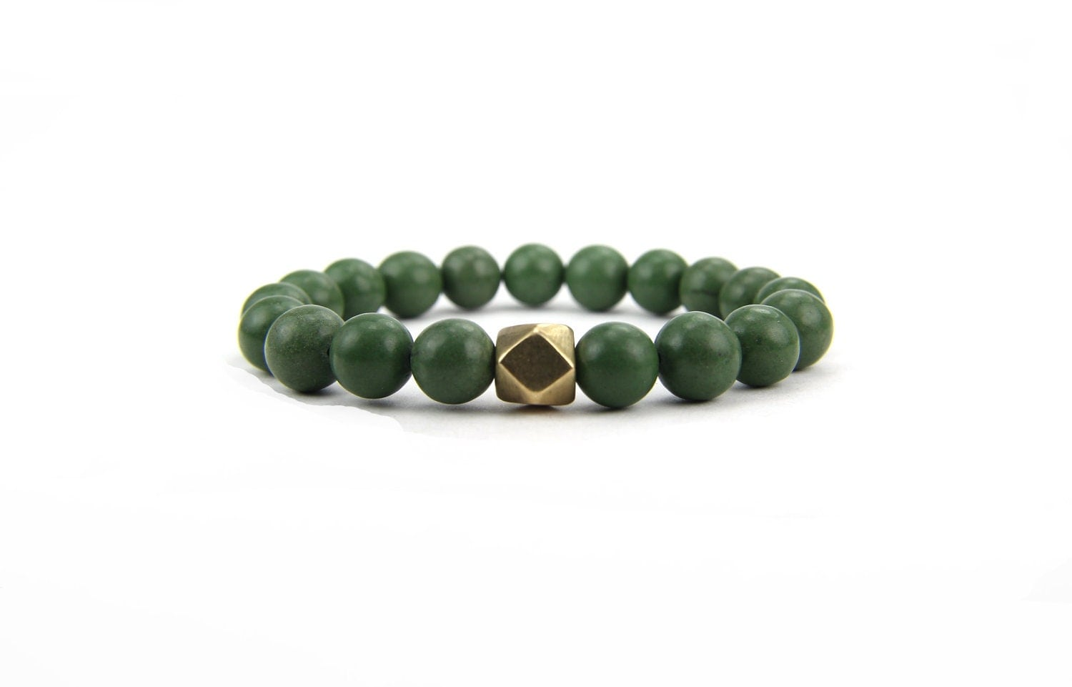 Green Gemstone Bracelet Stacking Stretch:  Rainforest