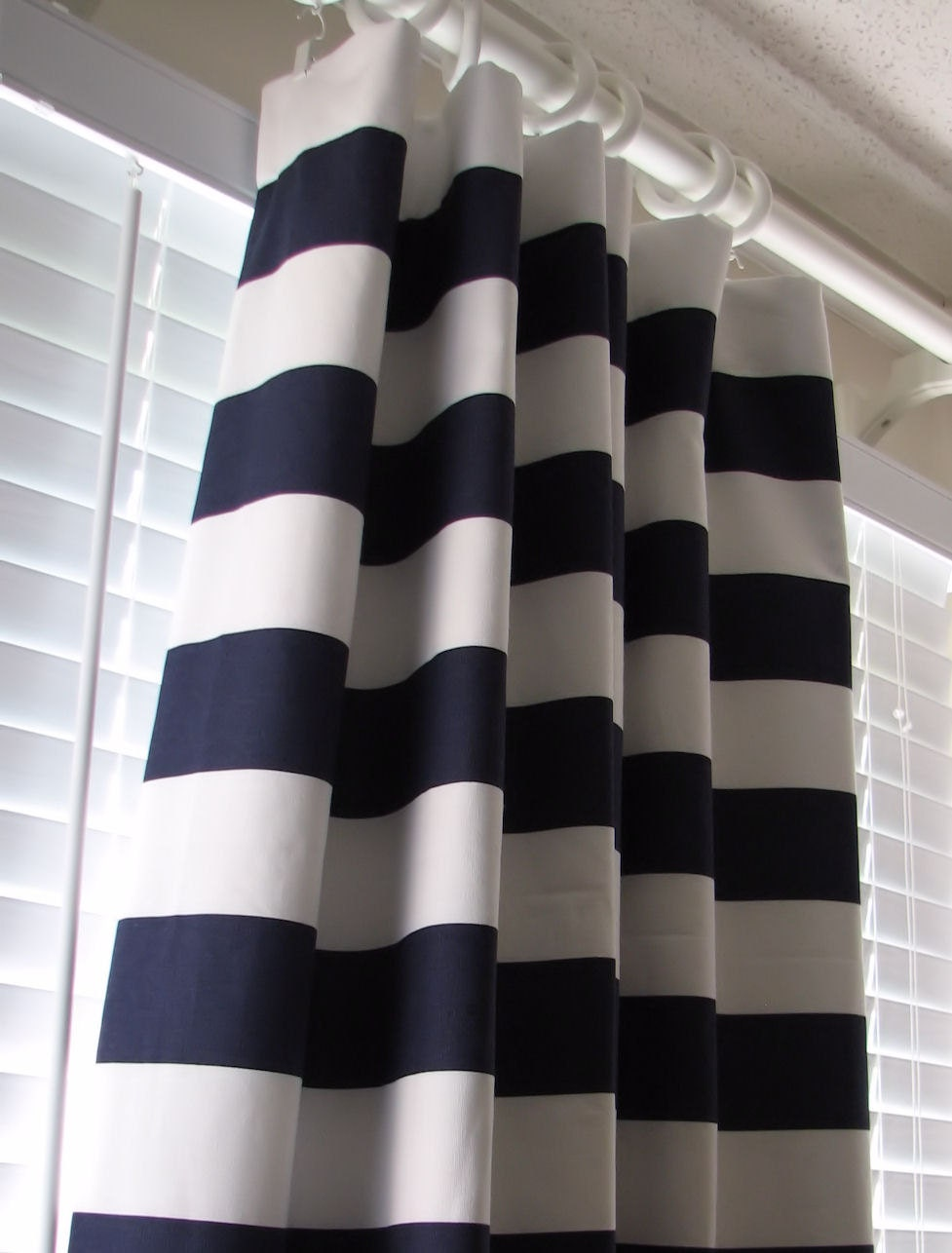 ... Curtains Drapes 50 x 96 Navy Blue and White Horizontal Stripe Rugby