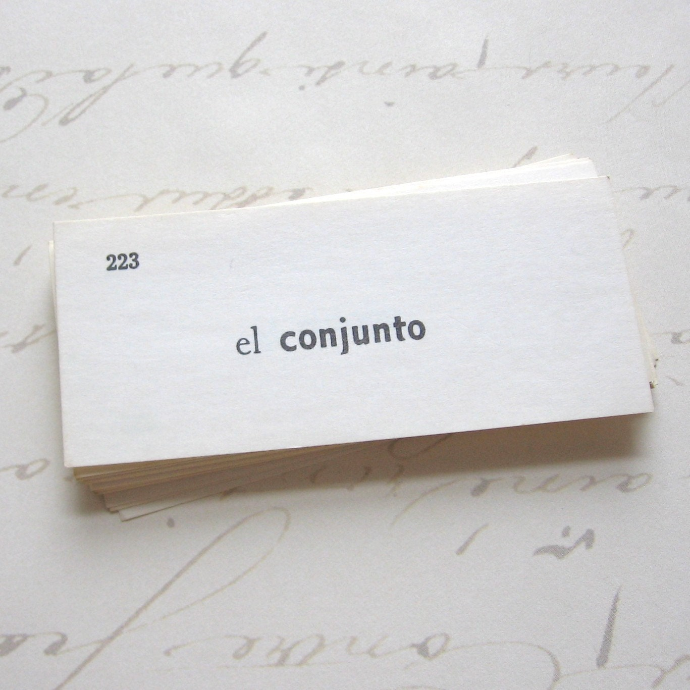 Vintage Spanish Vocabulary Words - Flash Cards, set of 25 (FC0011) - EccentricitySupplyCo