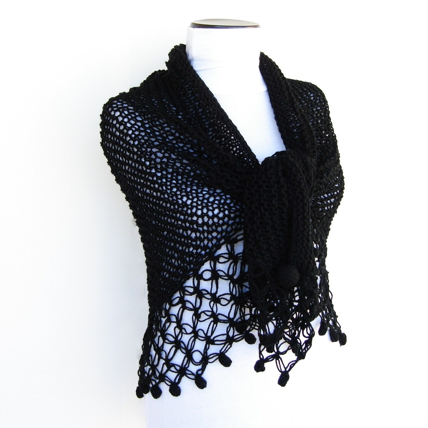 BLaCK TuLiP.... Shawl / Capelet  with Crochet Bead by Ayca on Etsy from etsy.com