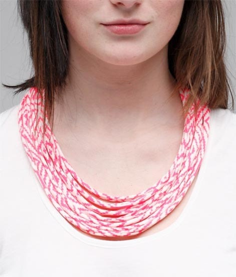Hot Pink Maze Fabric Necklace