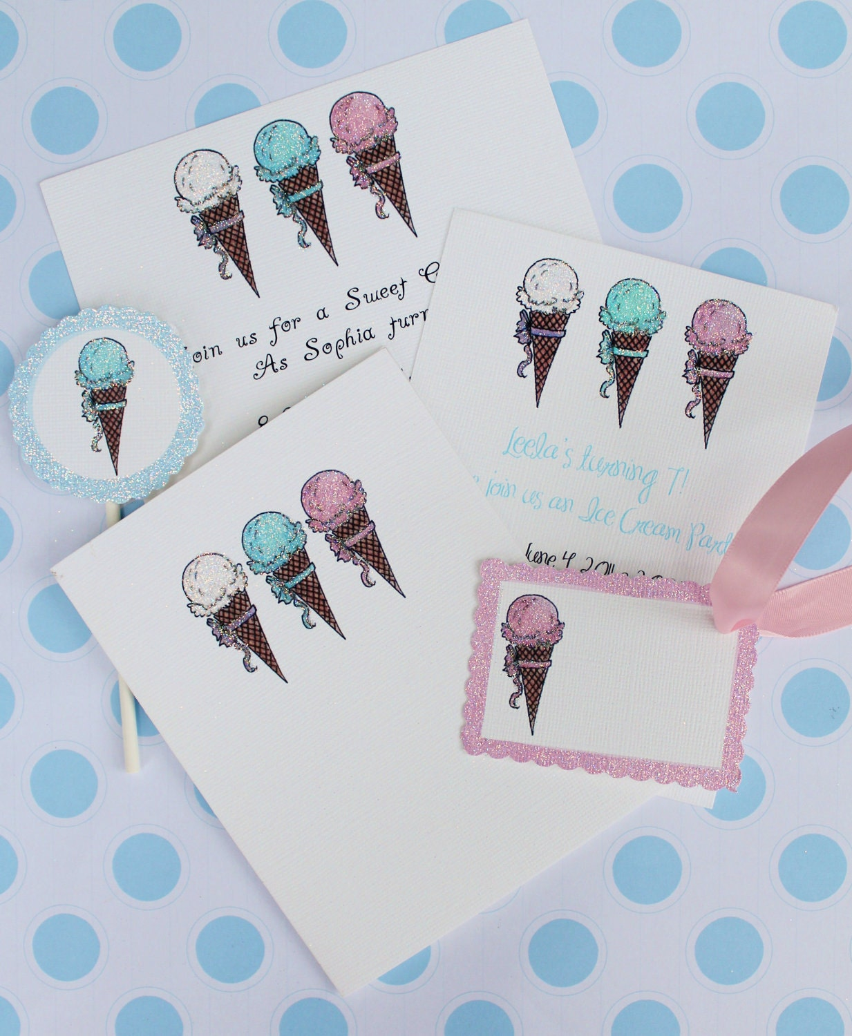 Ice cream cones invitations, note cards, cupcake flags, gift tags