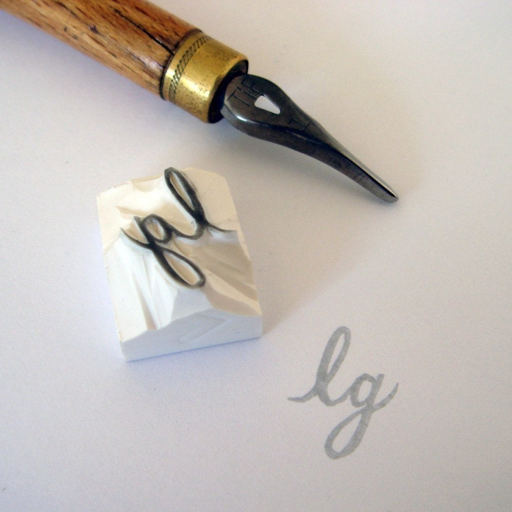 Custom / initial / handcarved rubber stamp