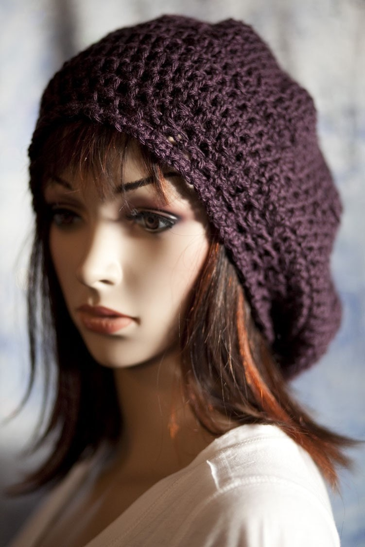 Slouchy Hat in Deep Plum