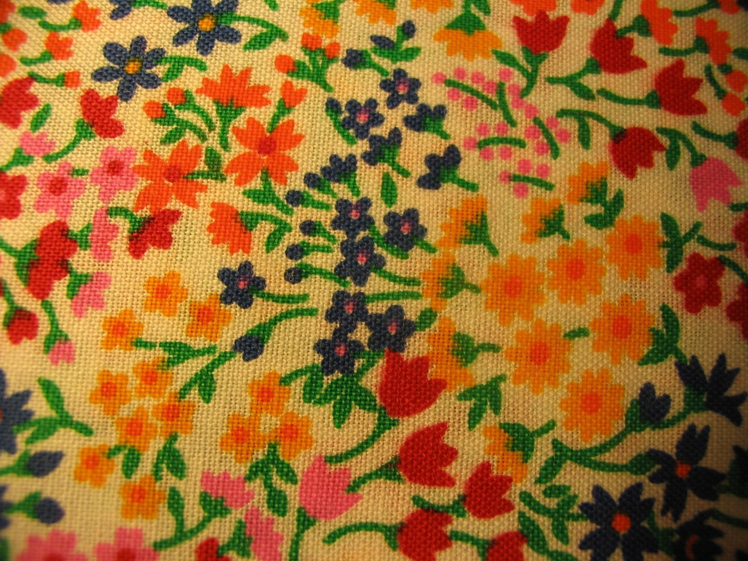 Vintage 1970s 1960s Calico Quilt Fabric Multi Colored flowers 18 inches 45.7 Centimeters