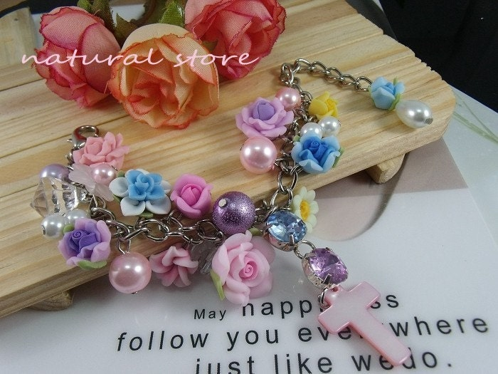 Flora event-rose-Swarovski Crystal-Imitation pearls -Polymer Clay Bracelets