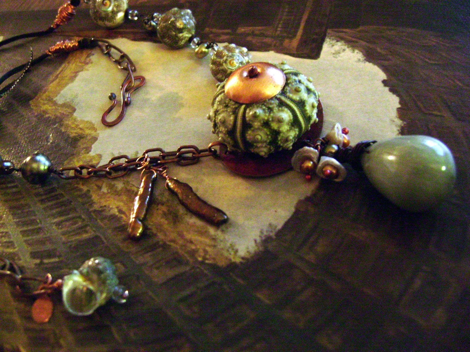 Sea Urchin Necklace with Keishi Pearls