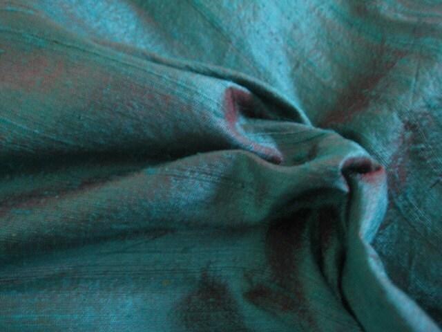 Half yard Unique Green and Dark Maroon Dupioni Silk