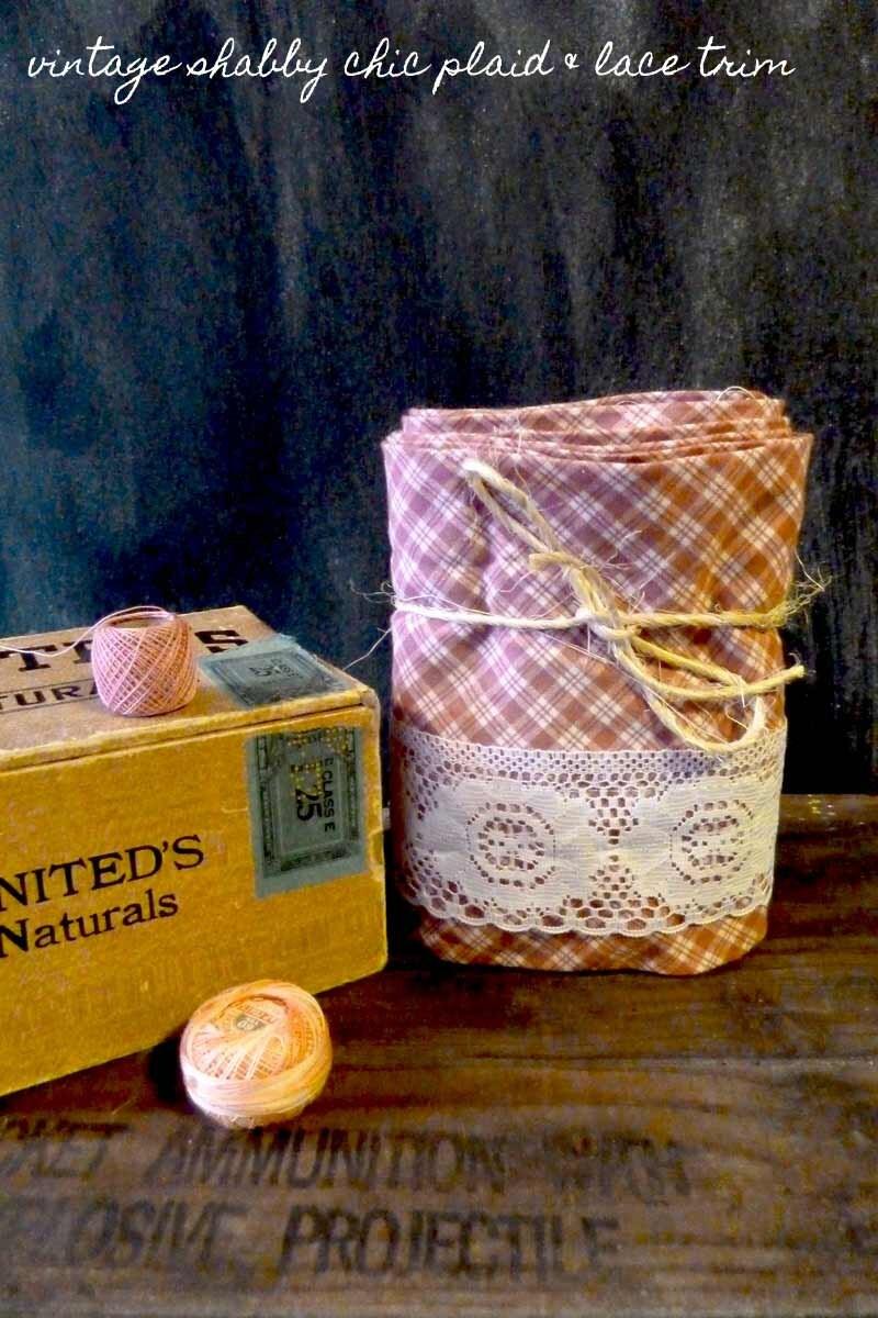 Vintage Plaid and Lace Trim, Fabric Lace Trim, Vintage Plaid Trim, Lace Trim