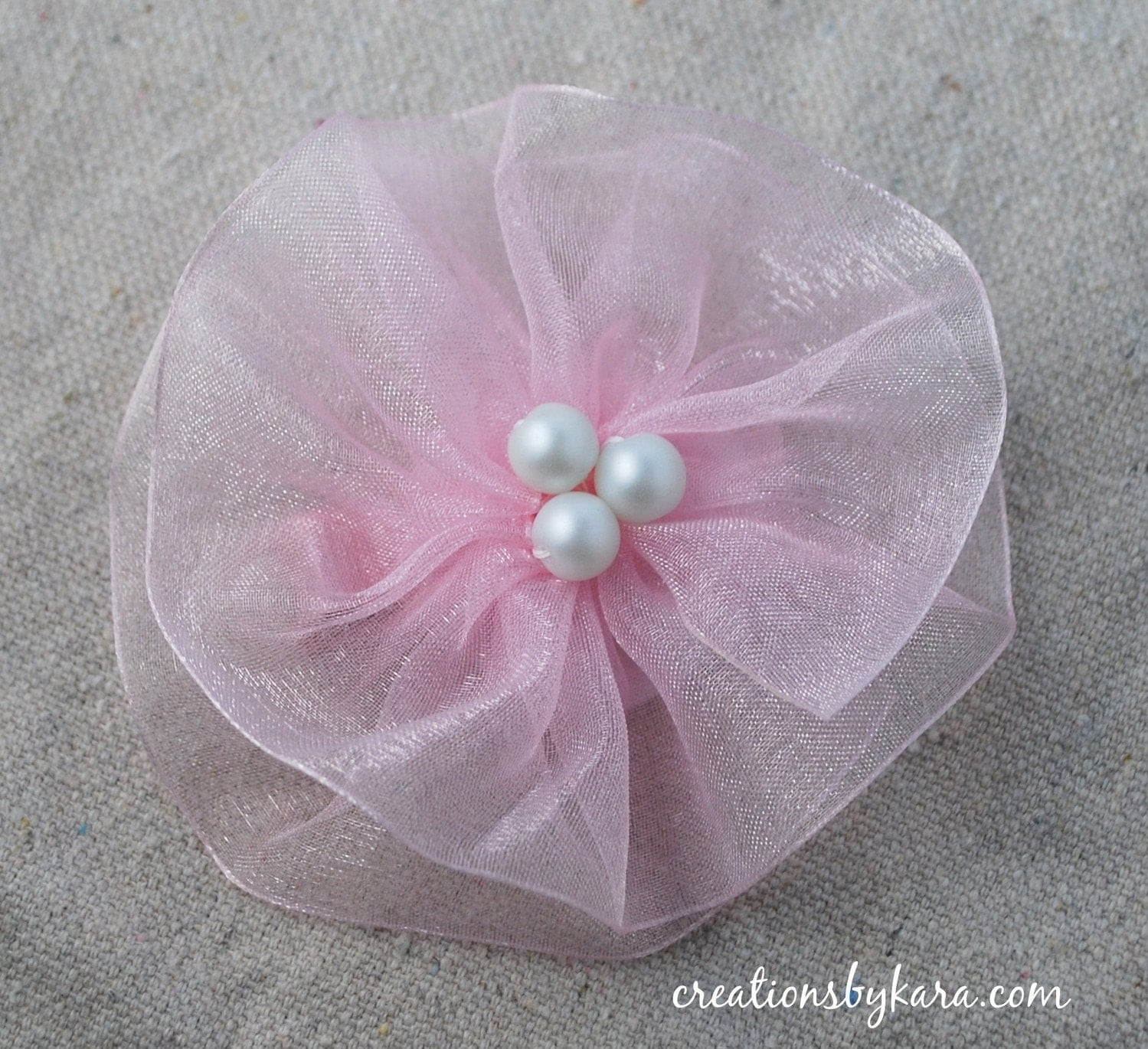 Beautiful Organza Ribbon Flower Clip - You choose color