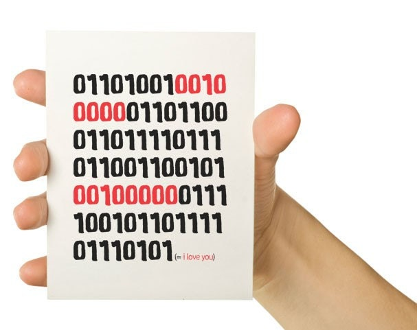 I Love You in Binary - Red and Black 8 X 5.5 Greeting Card