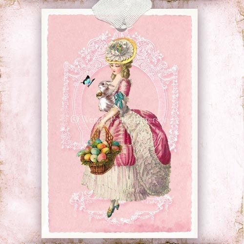 The duchess of devonshires gossip guide to the 18th century april 2010 etsy makes it possible to find rococo goodies for just about any holiday i found this fun marie antoinette easter gift tag from wendy paula patterson on negle Images