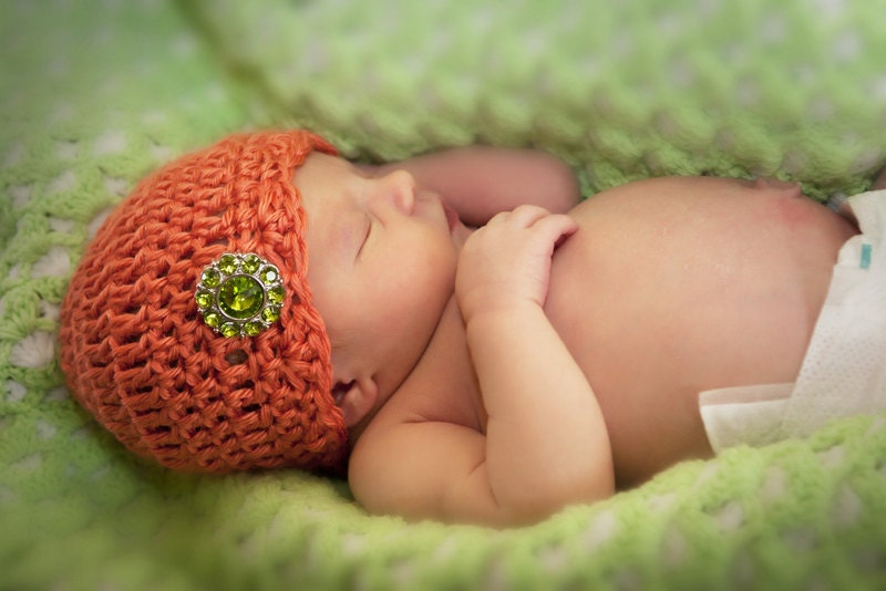 Crocheted Baby Hat With Gem Accent