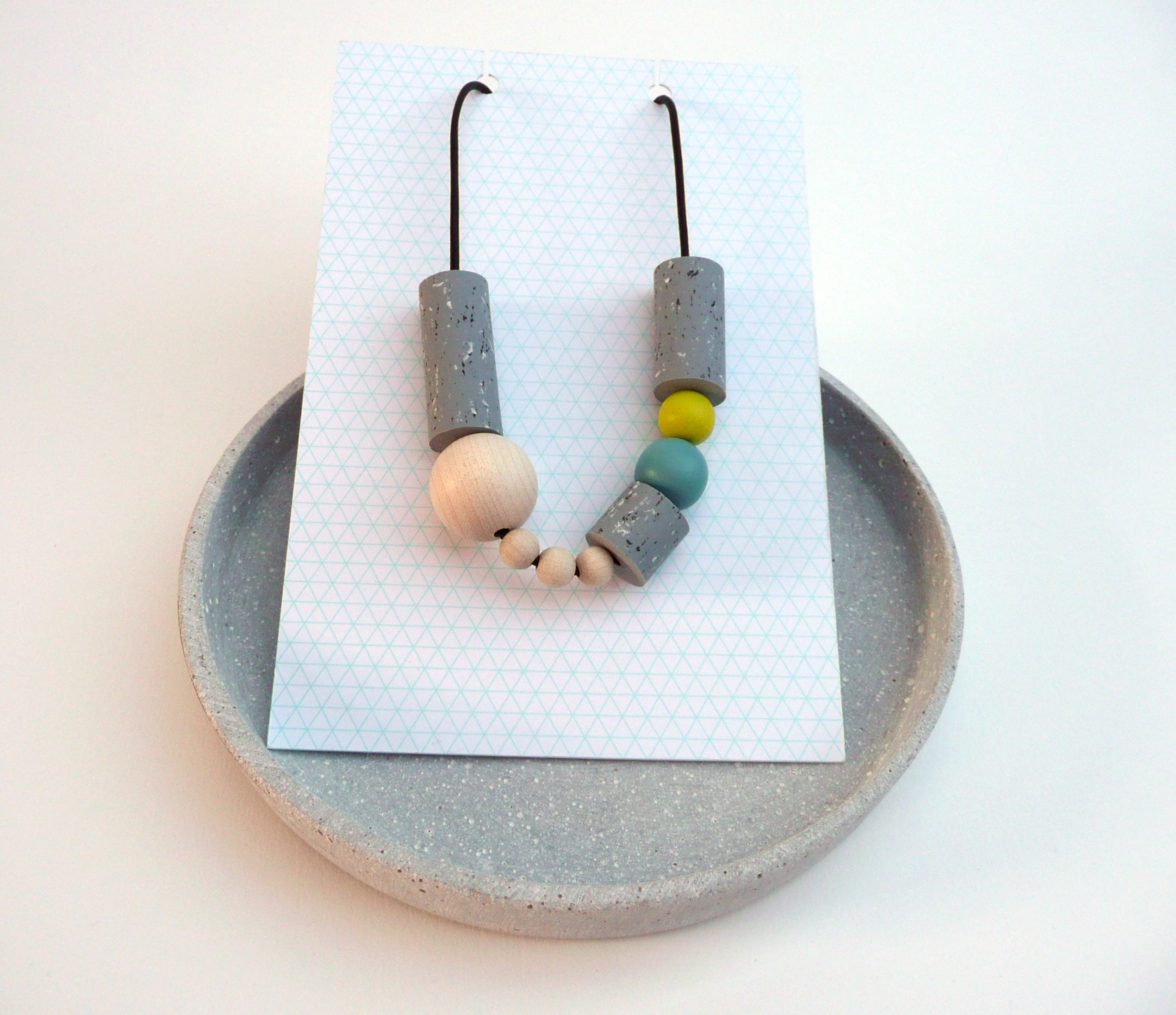 Geometric graphic beads grey turquoise  greenish yellow funky chunky beads speckled pattern handmade beads statement necklace