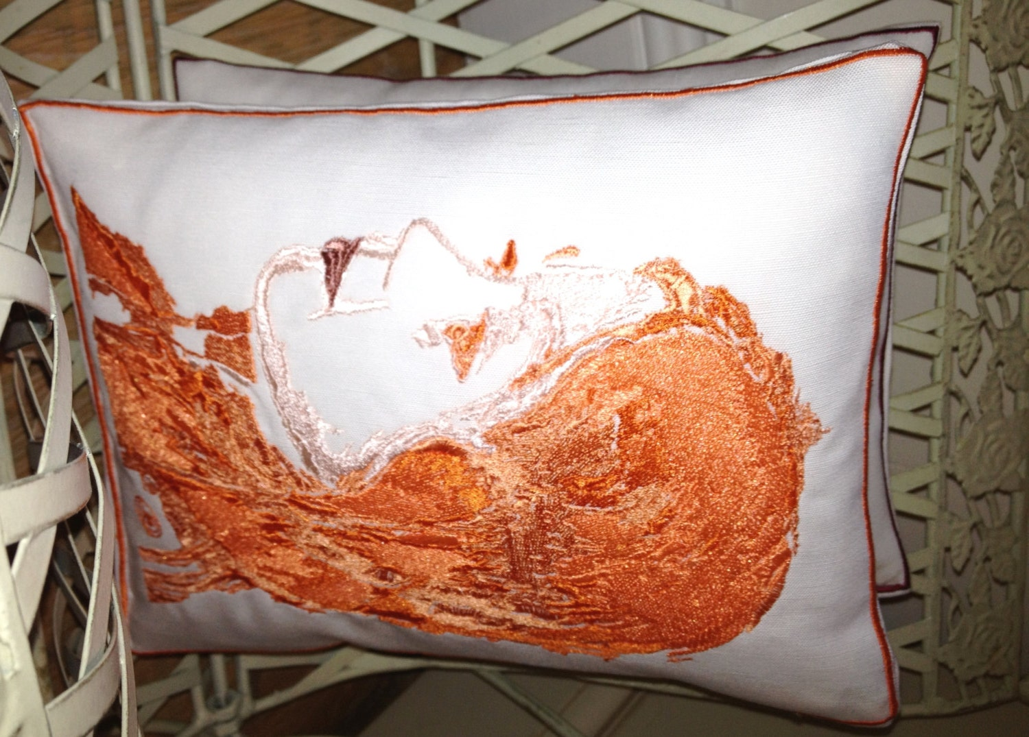 Portrait/Silhouette, Custom Artistic Embroidery - Throw Cushion