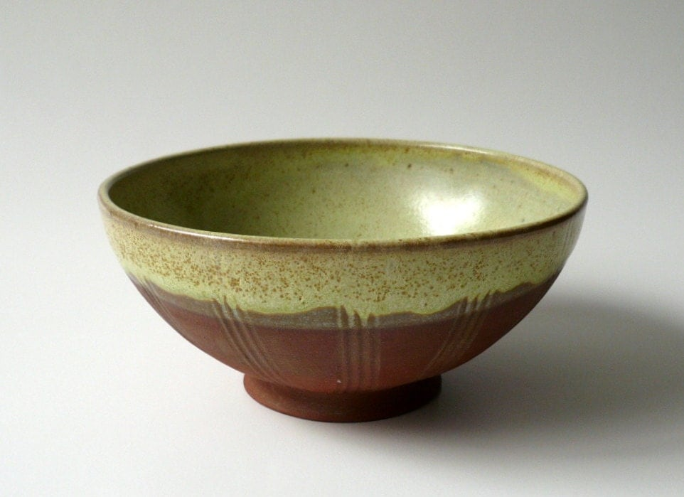 S A L E - Rustic Terracotta Bowl in Lime Green - CrowWhitePottery