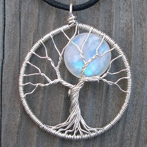 Moon Tree Sterling Silver and Moonstone Pendant - Original Design by Ethora - ethora