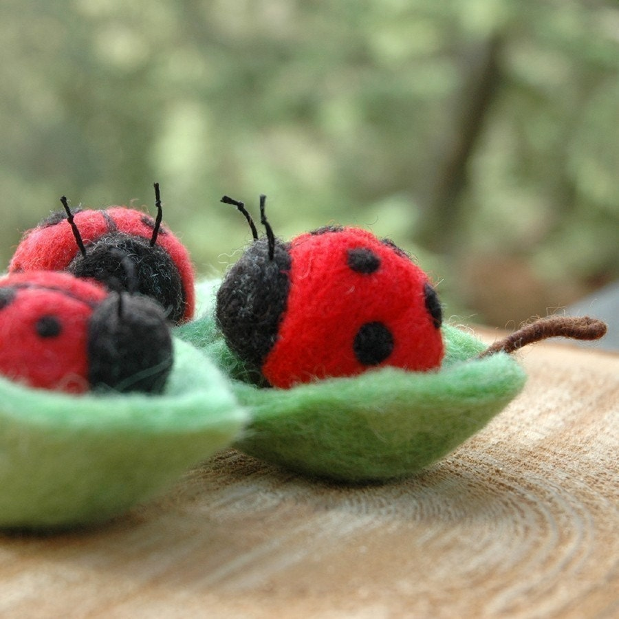 Ladybug in a Leaf Bowl - Needle Felted Natural Toy or Decor