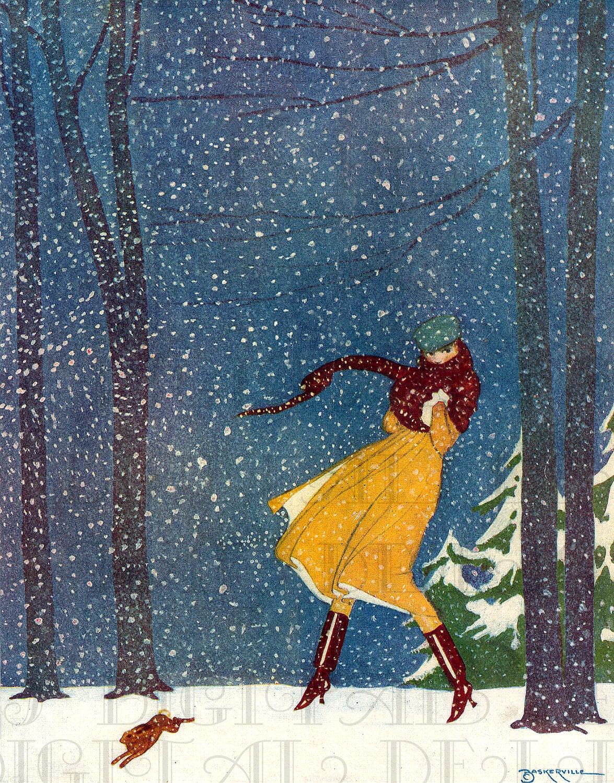 let it snow  art deco flapper amid by dandddigitaldelights on etsy