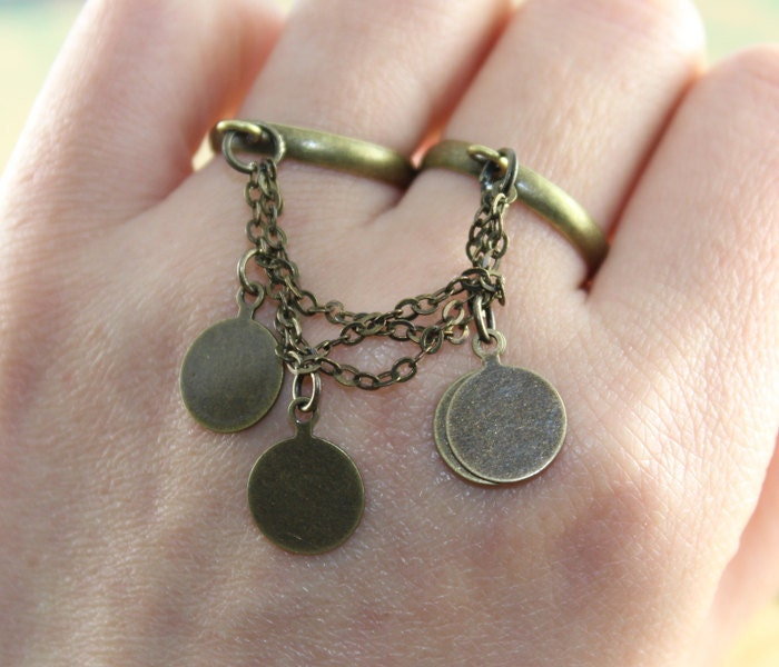 antique bronze bohemian ring medal coins by