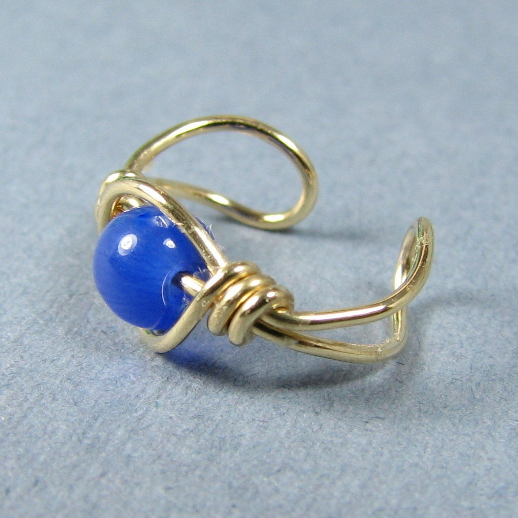 14k Gold Filled Ear Cuff Cobalt Royal Blue Cats Eye