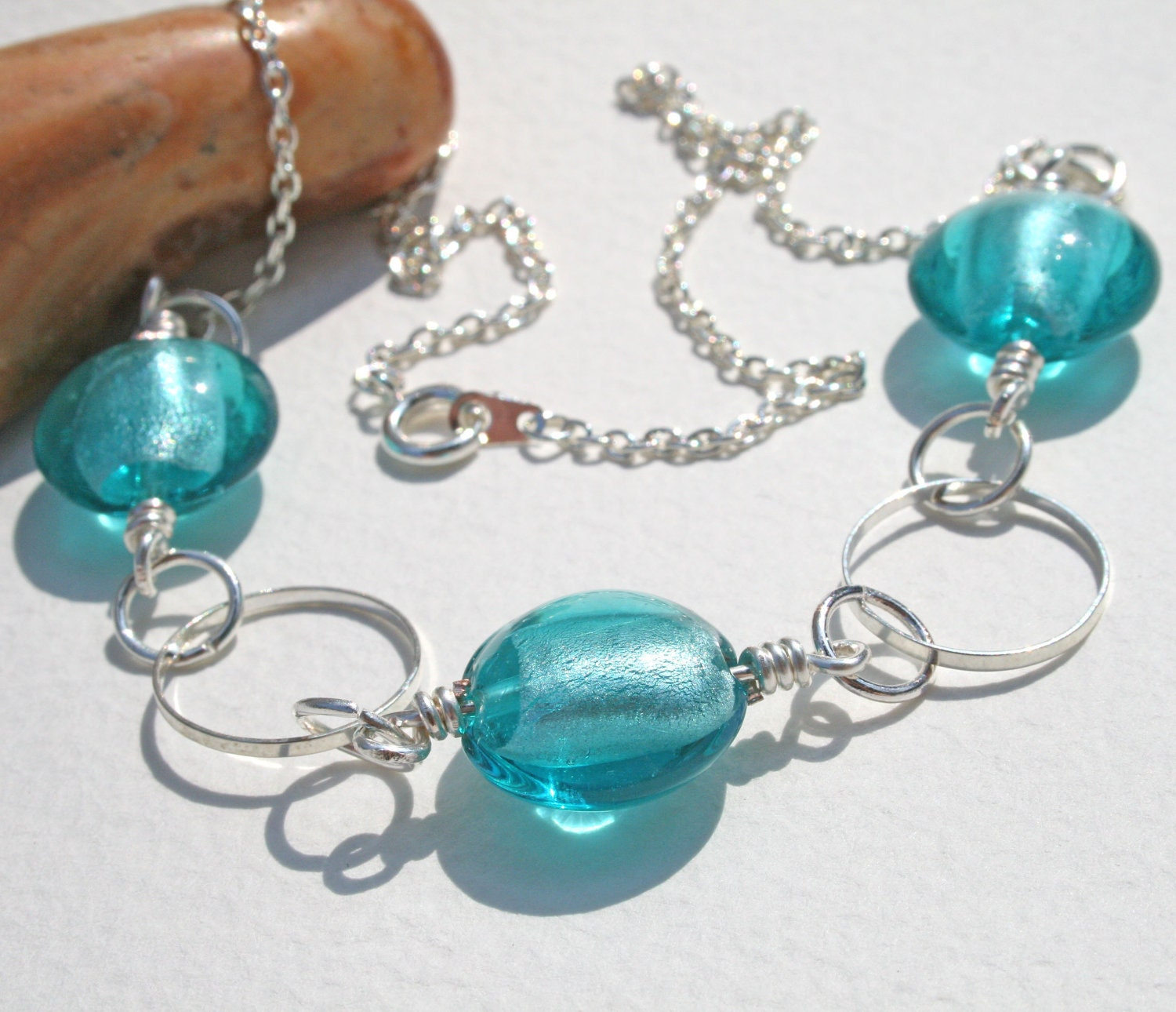Sea Blue Glass Foil Bead Necklace