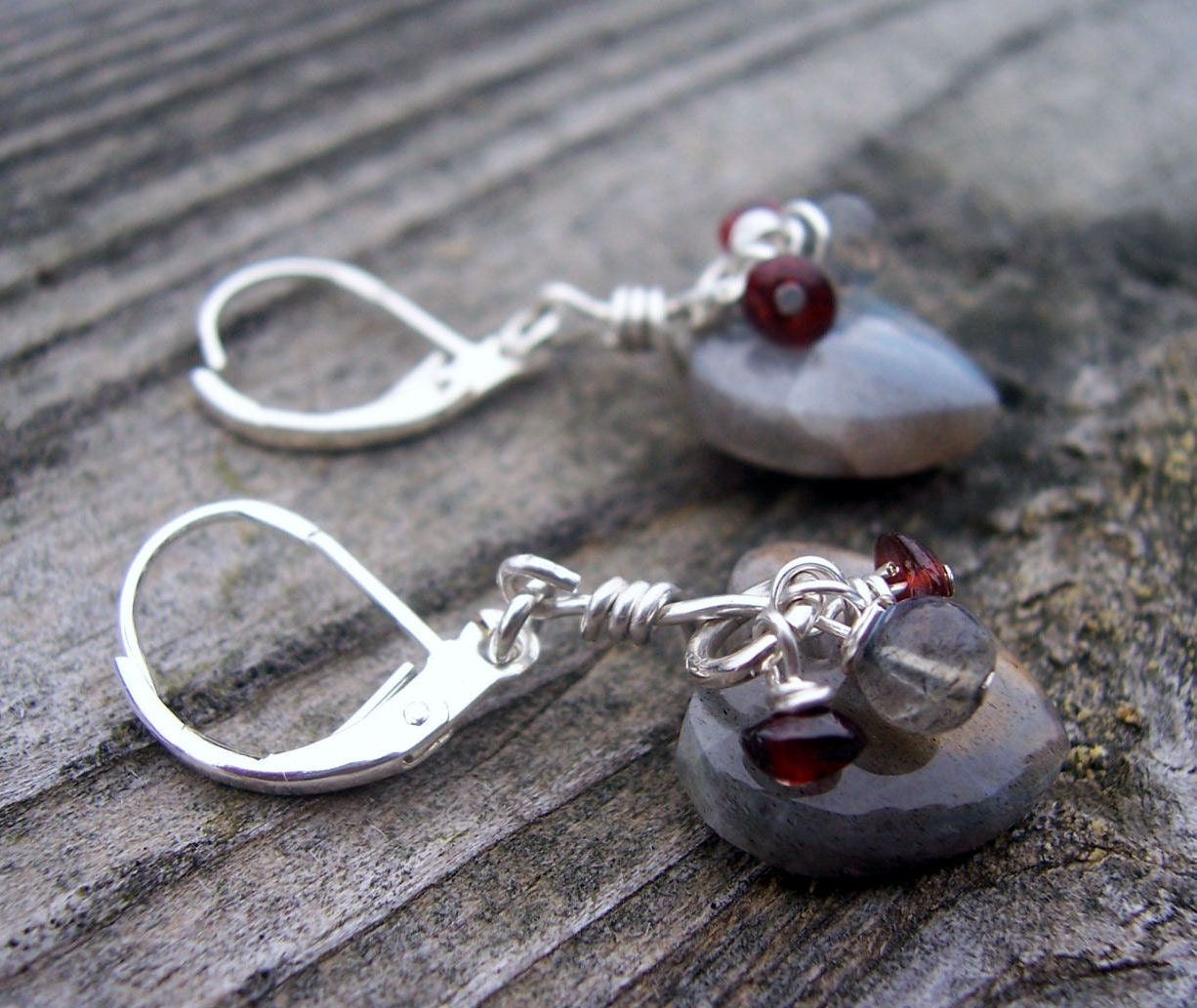 Labradorite heart and garnet sterling silver dangle earrings, valentines day