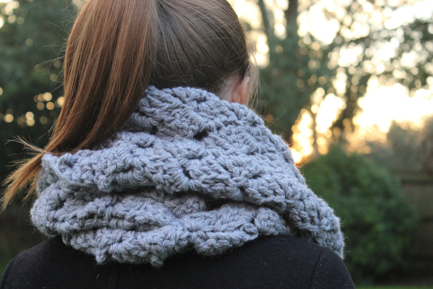 Grey Infinity Scarf, Valentines Day Gift, Womens Scarf, Crochet Scarf, Circle Scarf, Cowl