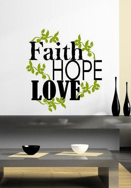 Faith hope love vinyl lettering wall words by for Faith decor
