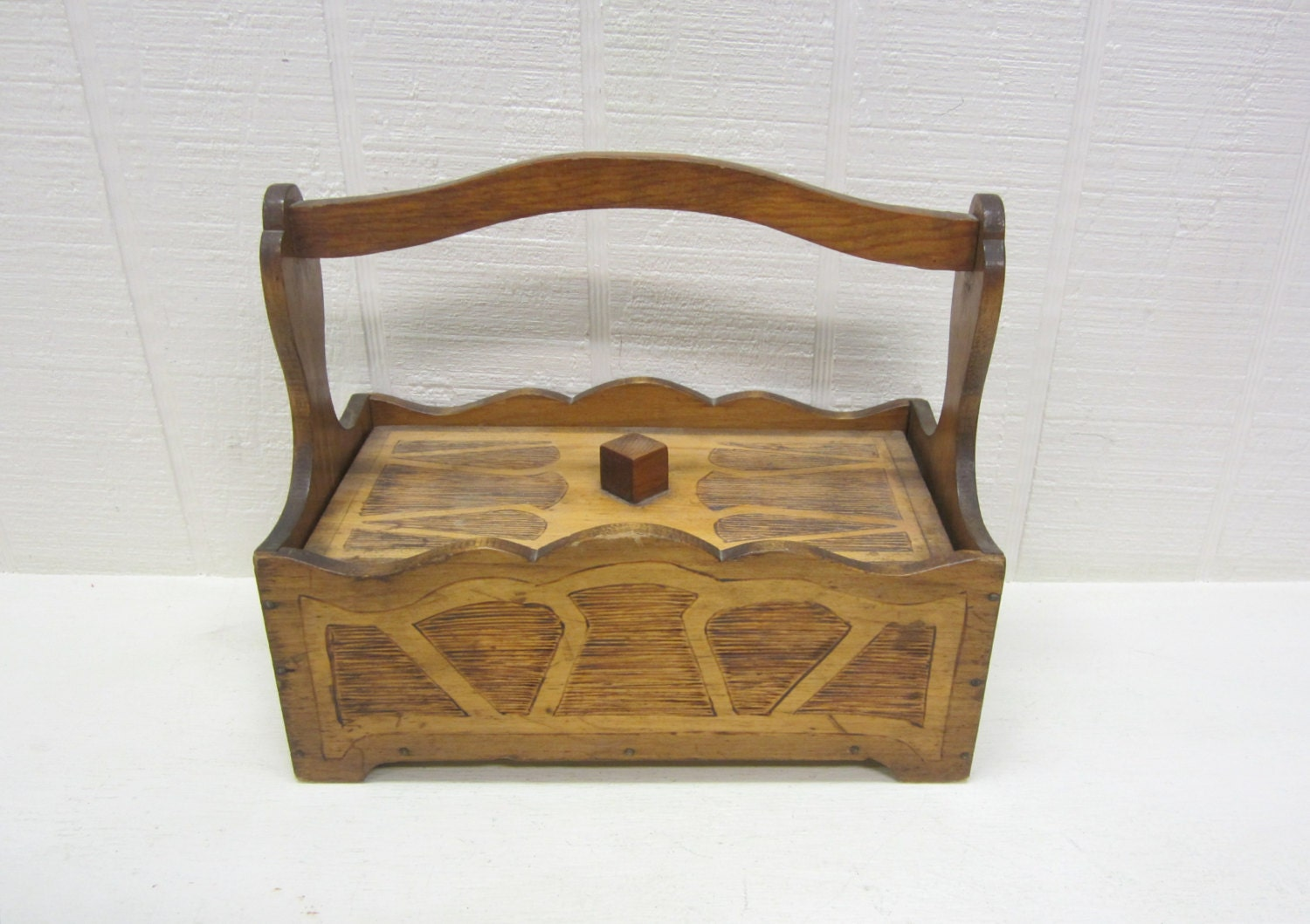 Handmade Sewing Basket : Vintage wooden sewing basket box handmade by thejunkman