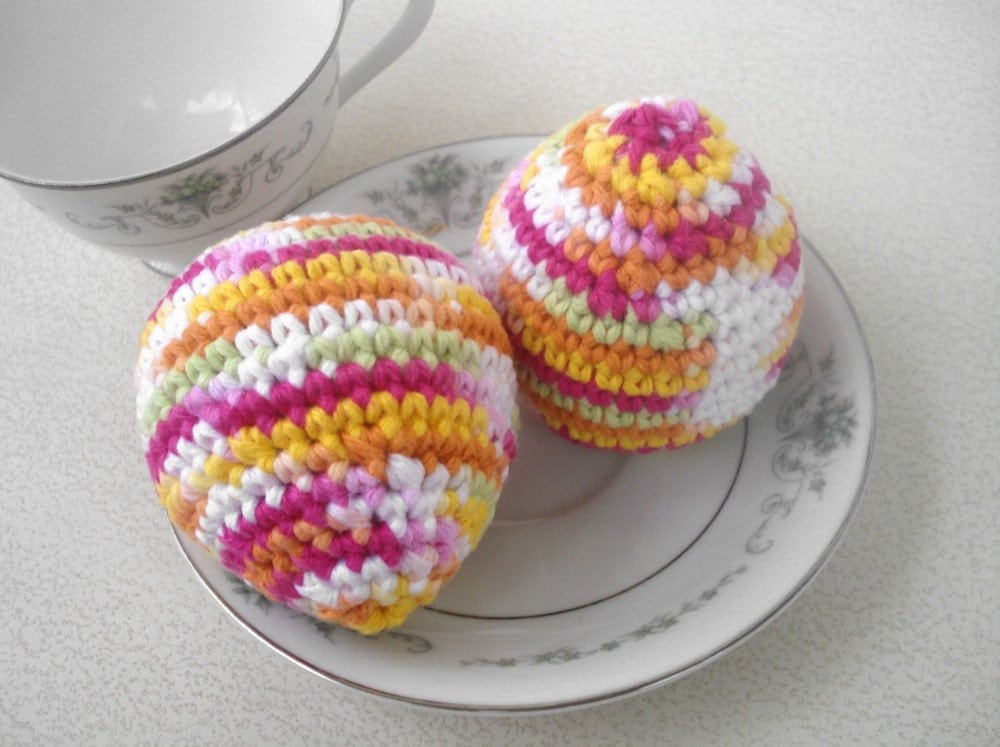 Two Pastel Rainbow Eggs - Crochet