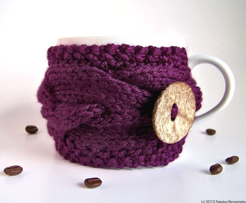 Purple Cup Cozy, Valentine Mug Sleeve, Tea Coffee, Violet Twilight Plum Eggplant Amethyst Aubergine Blueberry, Knitted Cabled, fresht fttt dreamt elitett