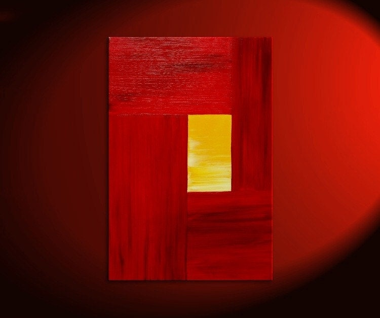 Red Modern Abstract Painting Yellow Accent Color Urban Original Art on Stretched Canvas Featured on TV Custom Version 24×36