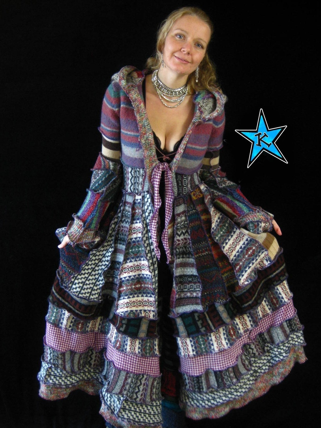 RESERVED for  Autumn - Long Hoodie ELf COAT - RECYCLED SWEATERS - GYPSY BOHO SHABBY CHIC PIXIE COUTURE