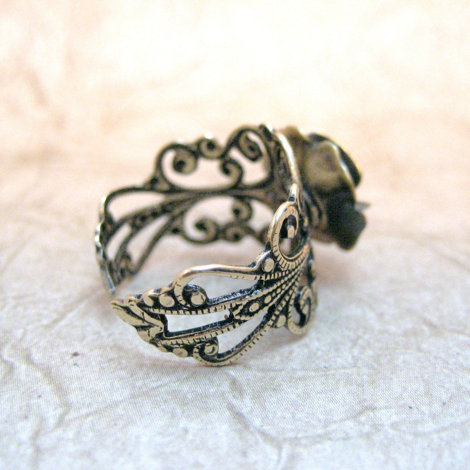 Steampunk Rose Ring - Neo Victorian Gold Tone Filigree Jewelry - Handmade and Designed by A Second Time