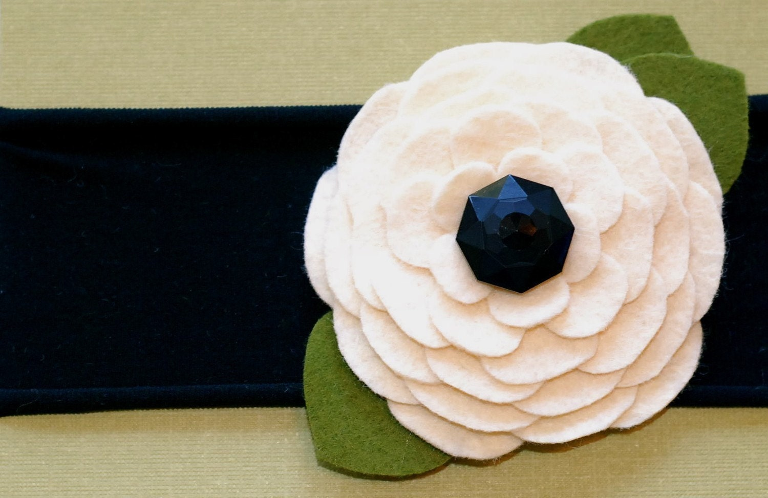 classic beauty felt flower with vintage studded button