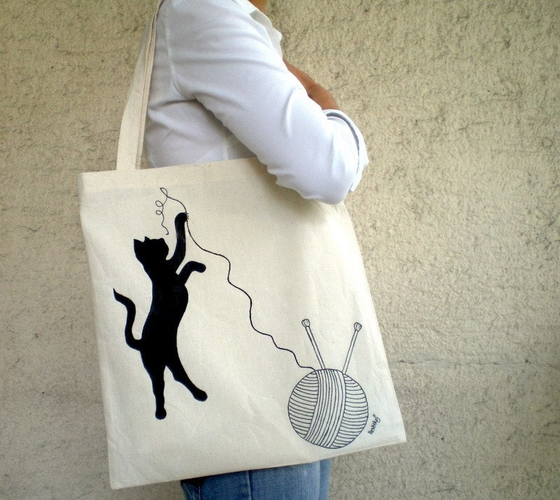 Playful Black Cat -Eco Friendly Tote Bag, Hand Painted, Organic