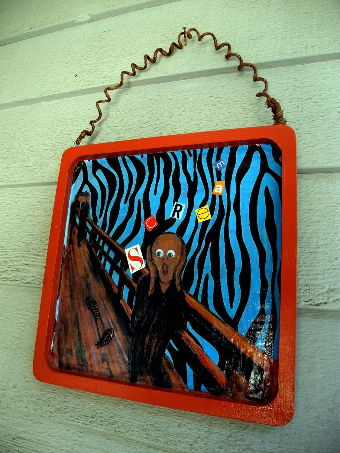 """Decoupaged SCREAM image on a 9""""X9"""" wooden hollow frame"""
