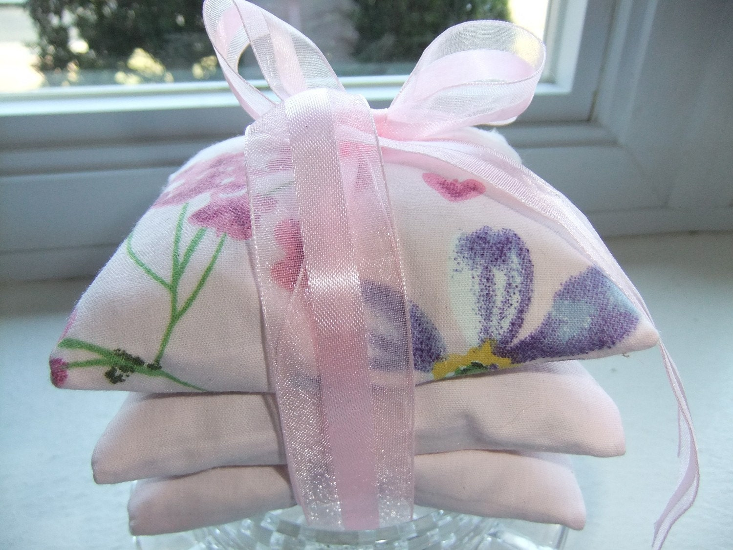 Stacked Pink Lavender Sachets - Set of Three (3)