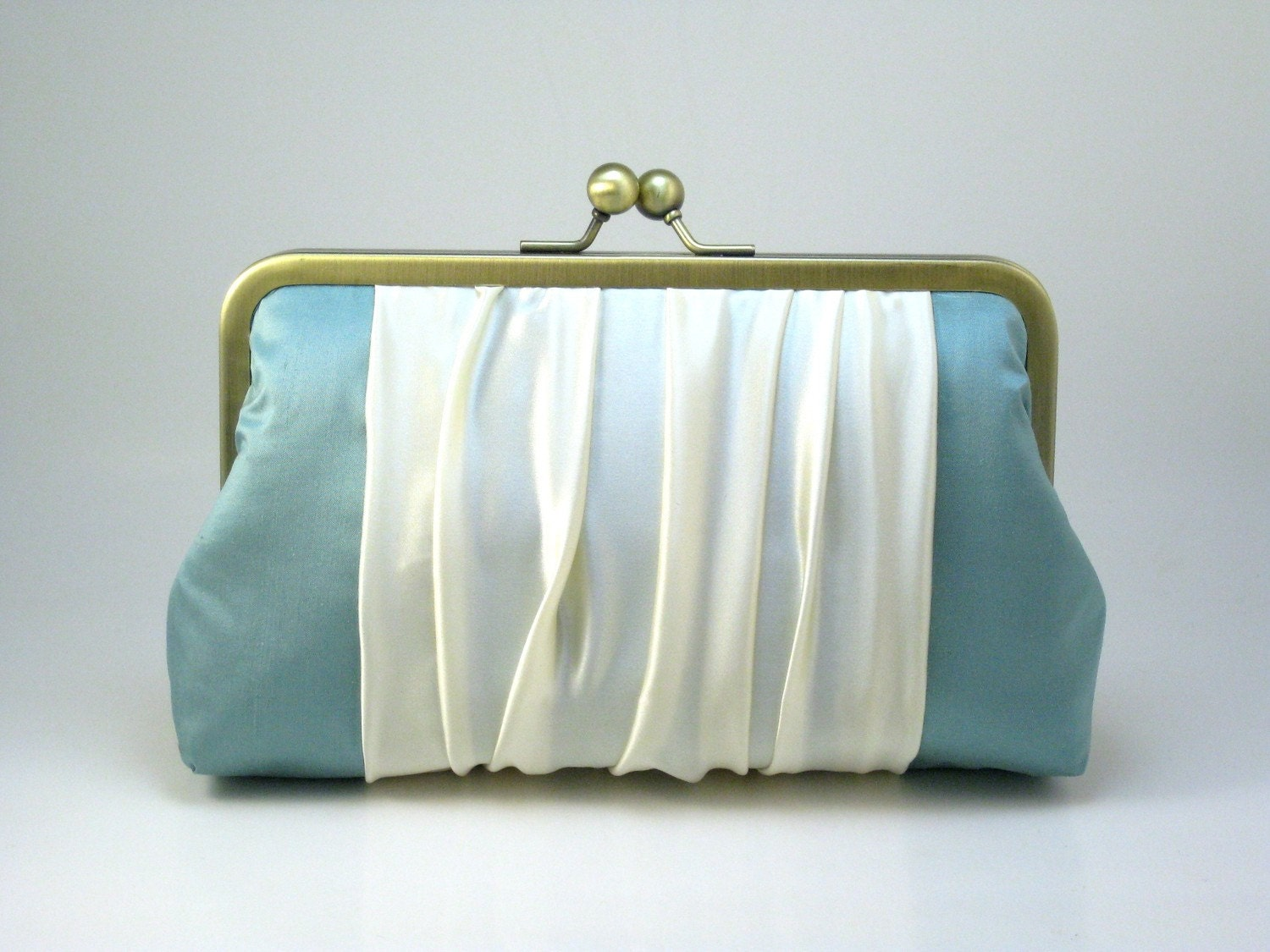 Polished Pleats Overlay - Cream on Robin Egg Blue