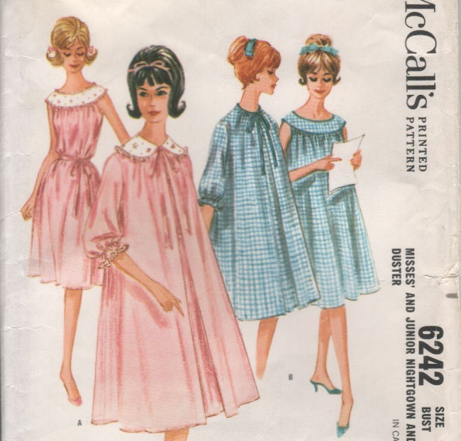 "Vintage 60s NIGHTGOWN and Duster Sewing Pattern Sleepwear Nightie - size 16 - bust 36"" (91 cm) - McCall's 6242"