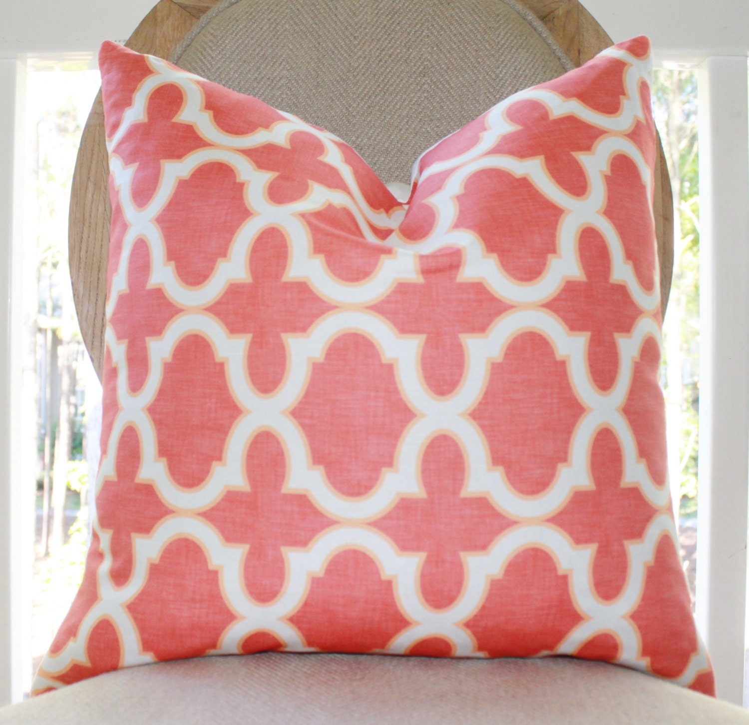 Coral Quatrefoil Pillow - Coral and Orange Quatrefoil Geometric Trellis Designer Cover -Decorative  Throw Pillow