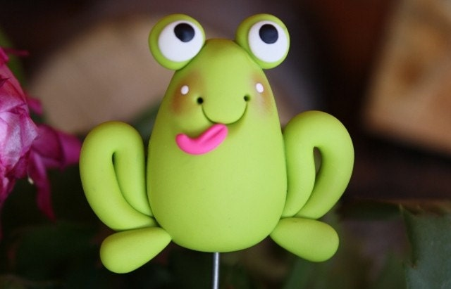 Polymer Clay Pot Garden Stake FROG