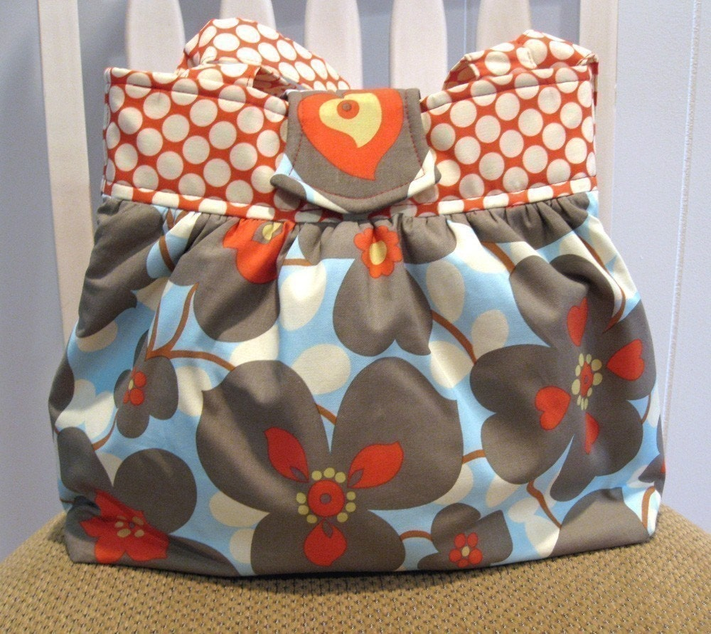 Handmade Gathered Fabric  Bag in Amy Butler Lotus Dot Cherry and  Morning Glory