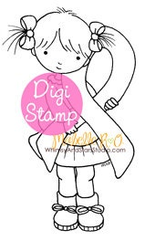 Instant Download Digi Stamp: Ribbon Girl