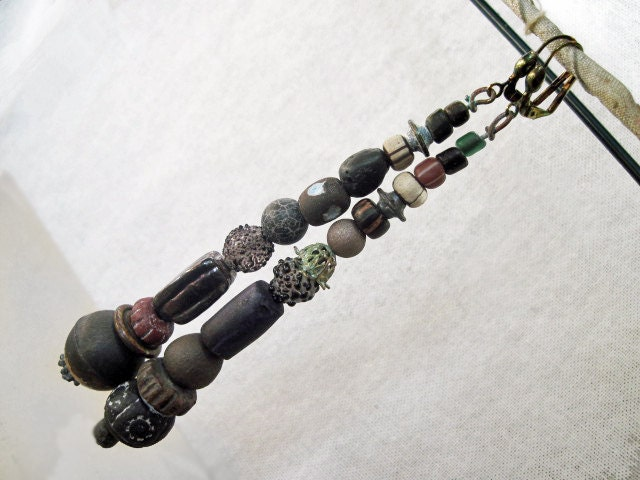 The Crone. Rustic Gypsy Tribal Assemblage Earring Dangles.