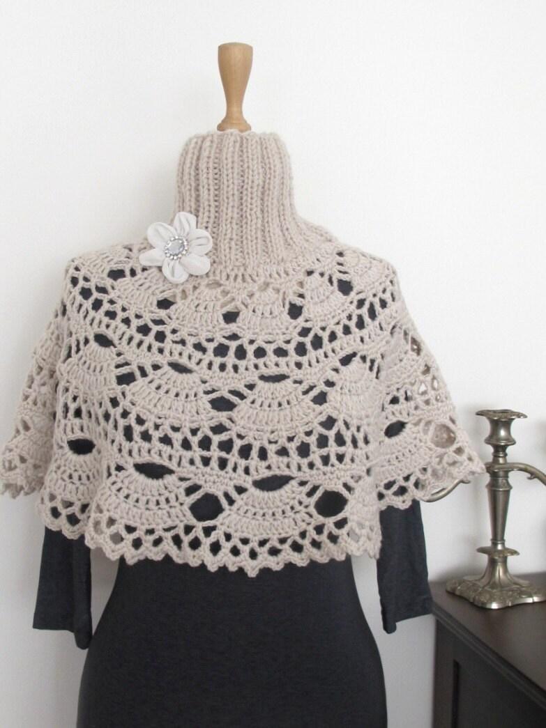 Knitting Pattern Turtleneck Capelet : TURTLENECK PONCHO CROCHET PATTERN