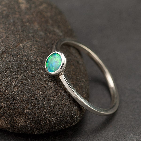 opal ring sterling silver ring small ring thin by