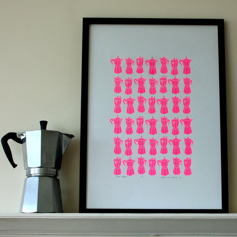 Neon Pink  Moka Express silkscreen print - A2 size - edition of 50