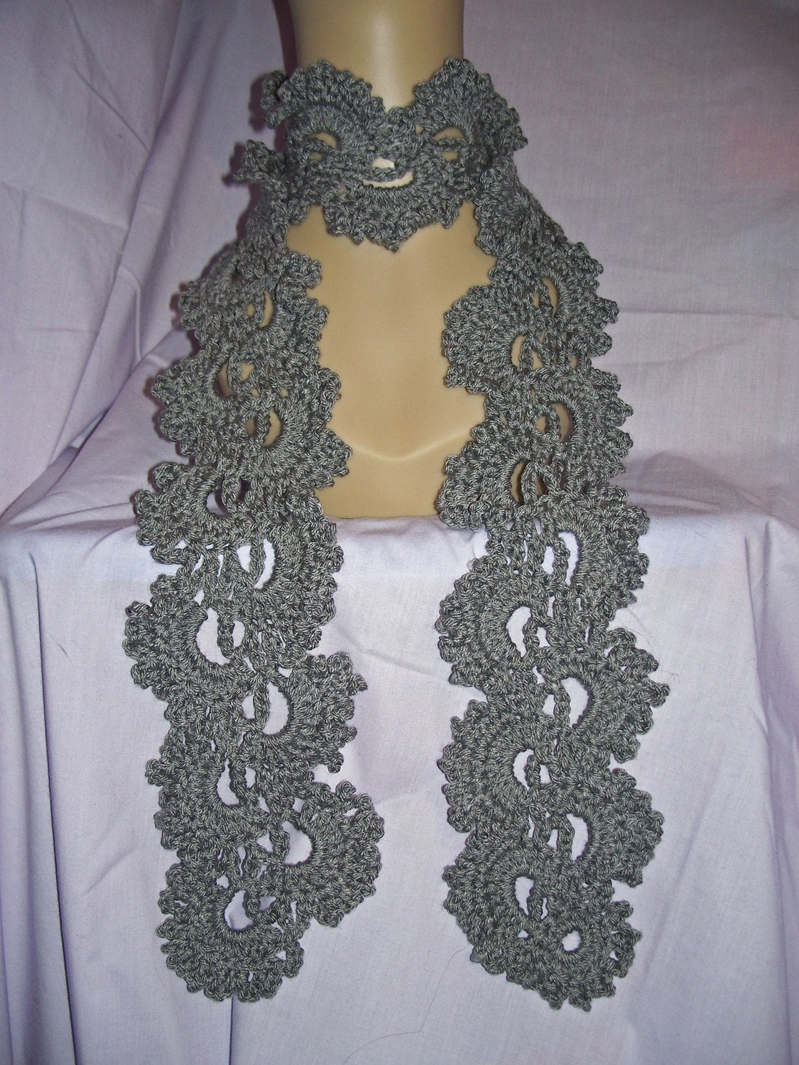 Grey -or choose your color- Crochet Queen Annes Lace Scarf - FREE ...